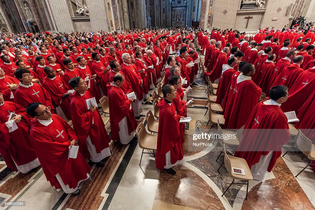 Priests attend the Holy Mass with the imposition of the Pallium upon the new Metropolitan Archbishops during the Solemnity of Saints Peter and Paul at St. Peter's Basilica in Vatican City, Vatican on June 29, 2016. The pallium, a woolen shawl symbolizing the bond beetween Metropolitan Archbishops and the Pope, is an ecclesiastical vestment in the Catholic Church.