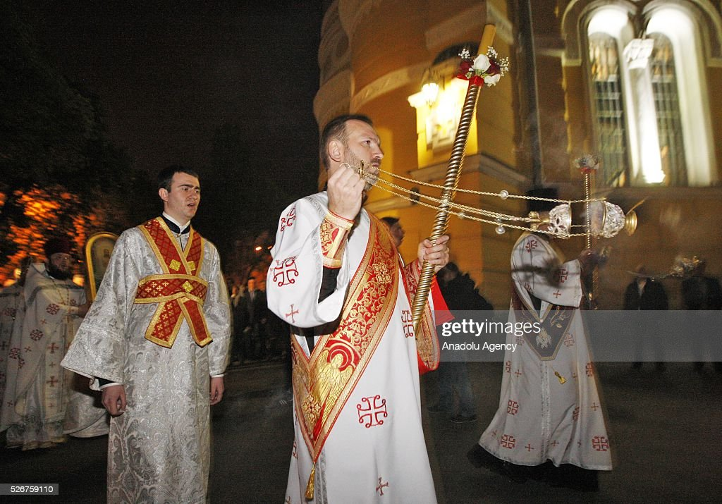 Priests attend the Orthodox Easter service at St. Volodymyr cathedral in Kiev, Ukraine,on May 01,2016.