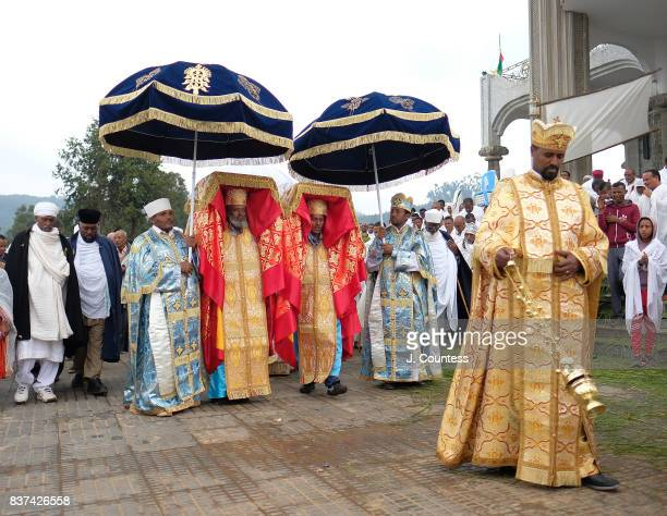 Priests carrying the Tabot a representation of the Ark of the Covenant lead followers of the Ethiopian Orthodox Tewehedo faith in a procession from...