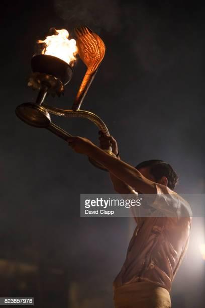 Priests performing Agni Pooja in Varanasi, India