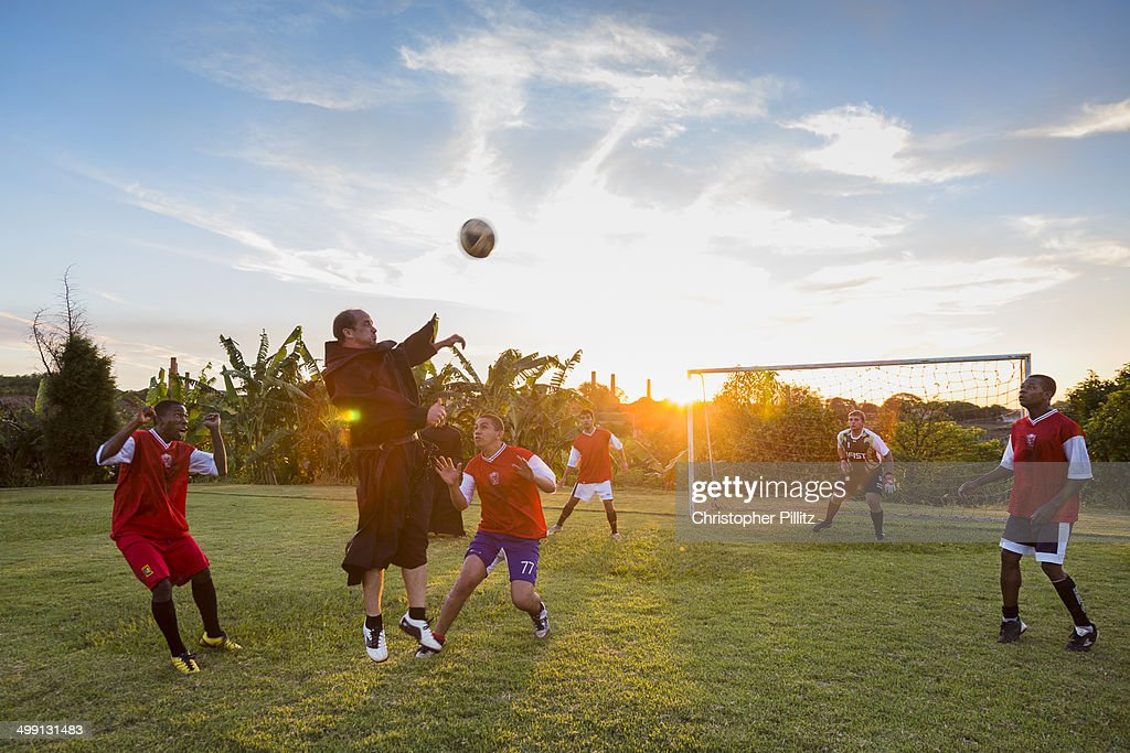 Priests playing football, Brazil
