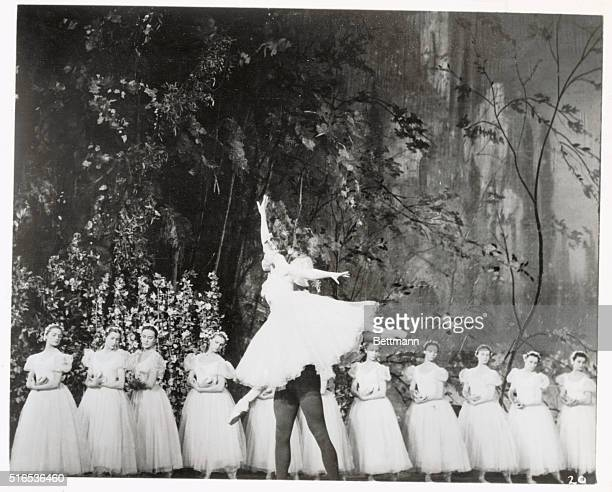 Prima ballerina Galina Ulanova the supreme example of the Soviet school of ballet getting a lift from her partner Nicolai Fadeyechev in a production...