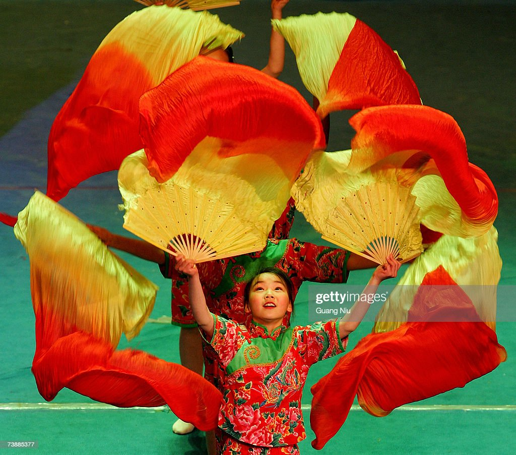 Primary school students performs a dance during an 'Olympic Soul, Happiness' activity to promote Olympic education April 14, 2007 in Beijing, China. China is preparing for the 2008 Games through campaigns to boost the enthusiasm of its citizens.
