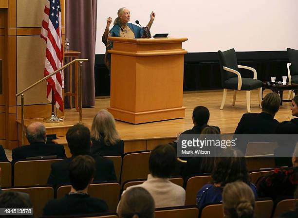 Primatologist and conservationist Jane Goodall speaks during a discussion at the State Departments office of Global Health Diplomacy on October 27...
