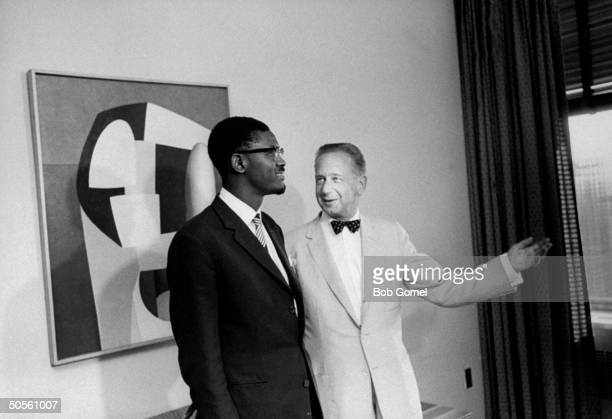 Prime Min of the Congo Patrice Lumumba and Dag Hammarskjold at a UN Security Council discussion about the RB47 incident