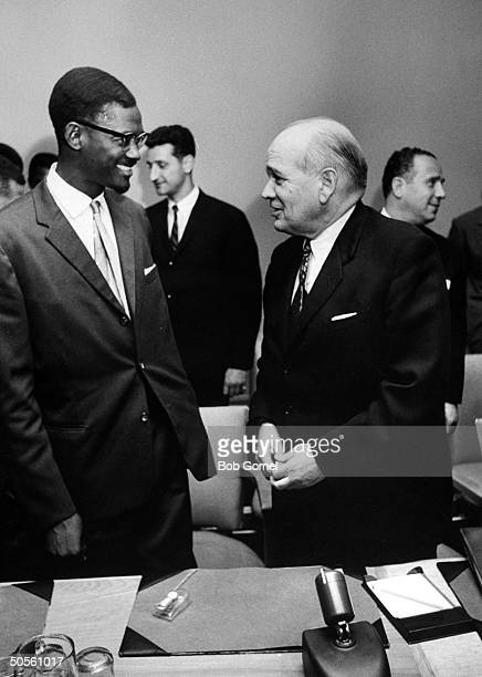 Prime Min of the Congo Patrice Lumumba and Omar Loutfi at a UN Security Council discussion about the RB47 incident