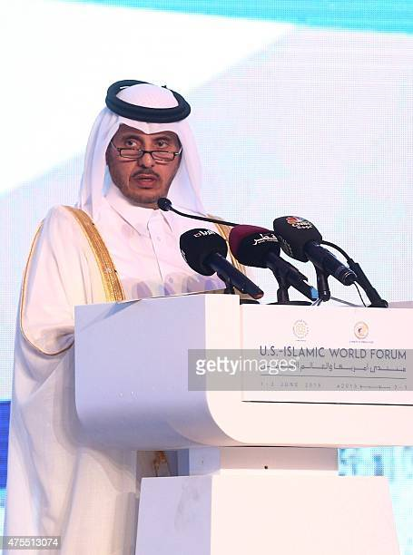 Prime Minister Abdullah bin Nasser bin Khalifa alThani delivers a speech during a panel discussion as part of the USIslamic World Forum on June 1...