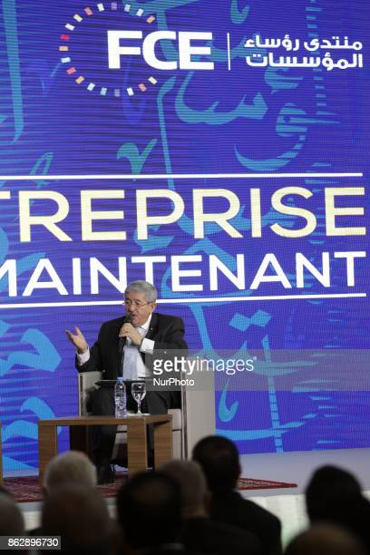 Prime Minister Ahmed Ouyahia speaks at the opening of the third edition of the University of the Forum of Business Leaders in Algiers Algeria on...
