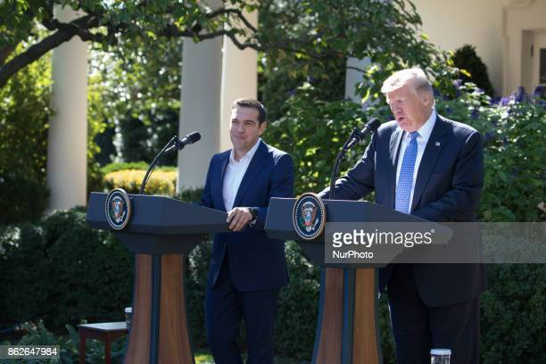 Prime Minister Alexis Tsipras of Greece and US President Donald Trump held a joint press conference in the Rose Garden of the White House on Tuesday...