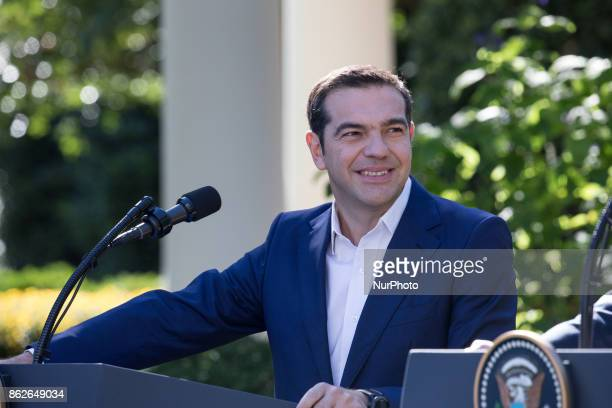 Prime Minister Alexis Tsipras of Greece listens during his joint press conference with US President Donald Trump in the Rose Garden of the White...