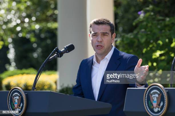 Prime Minister Alexis Tsipras of Greece speaks during his joint press conference with US President Donald Trump in the Rose Garden of the White House...