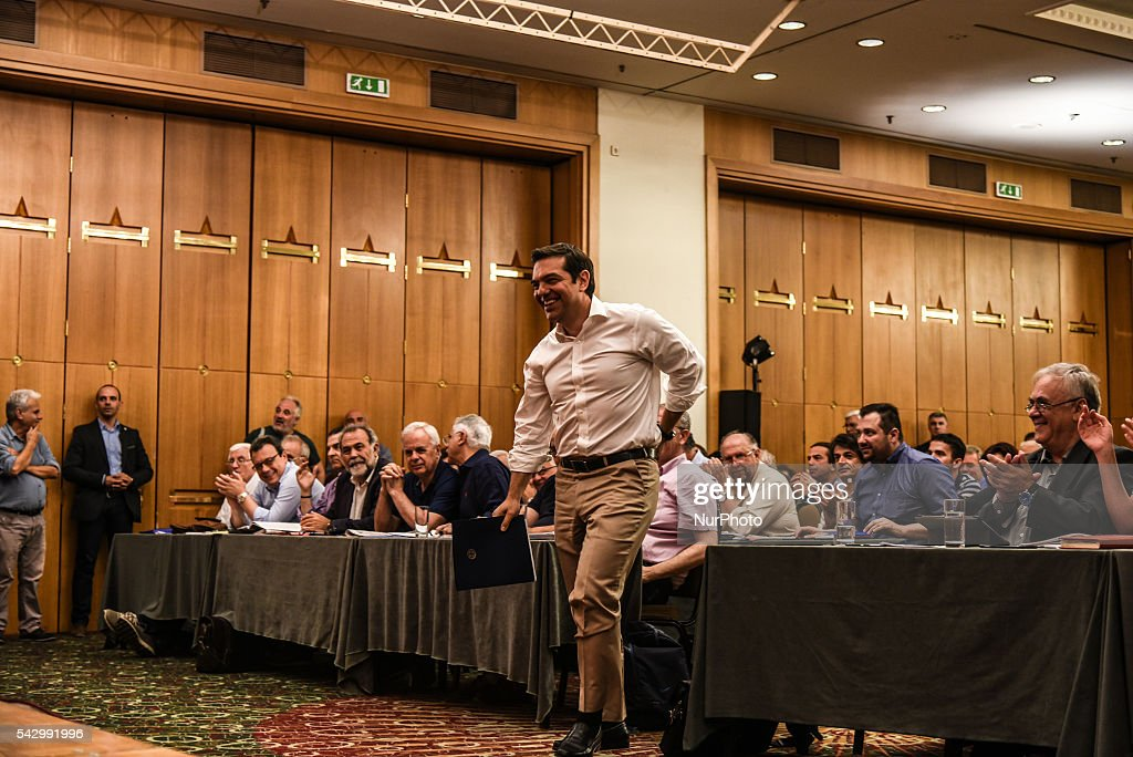 Prime Minister and chairman of SYRIZA Alexis Tsipras during meeting of the Central Committee SYRIZA, Saturday 25 / Sunday 26 at Divani Caravel Hotel in Athens on June 25, 2016. One of the central topics was the impact of the Brexit.