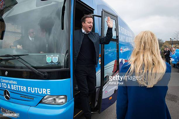Prime Minister and Conservative party leader David Cameron and Conservative candidate for Oxford West and Abingdon Nicola Blackwood meet supporters...