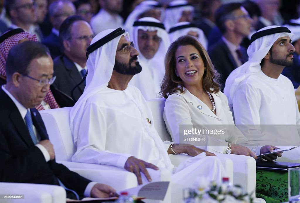 UAE Prime Minister and Dubai Ruler Sheikh Mohammed bin Rashid al-Maktoum,(2nd from L) sits next to his wife Princess Haya bint al-Hussein (C-R), United Nations Secretary-General Ban Ki-moon(L) and Dubai Crown Prince Sheikh Hamdan bin Mohammed bin Rashed al-Maktoum (R)during the presentation of a UN report on funding for humanitarian aid on January 17, 2016, in the Emirate of Dubai. / AFP / STRINGER