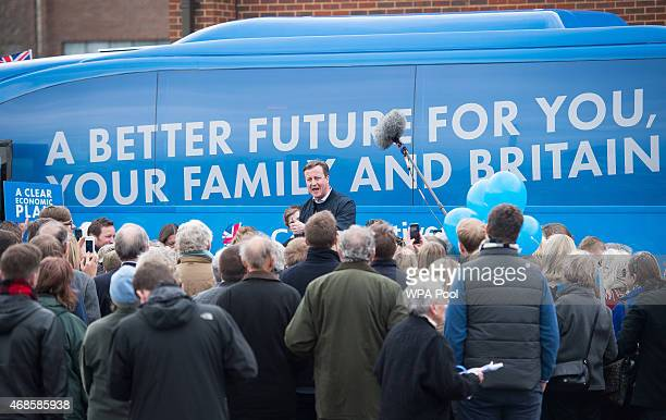 Prime Minister and leader of the Conservative Party David Cameron talks to supporters at Abingdon and Witney College during a general election...