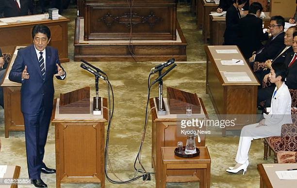 Prime Minister and Liberal Democratic Party chief Shinzo Abe speaks to Democratic Party chief Renho in Tokyo on Dec 7 in their first leaders' debate...