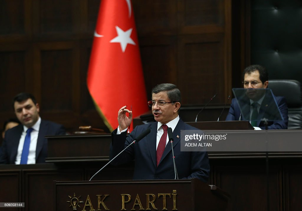 Prime Minister and the leader of the Justice and Development Party (AK Party) Ahmet Davutoglu delivers a speech during the AK Party's group meeting at the Grand National Assembly of Turkey (TBMM) in Ankara, on February 9, 2016. / AFP / ADEM ALTAN