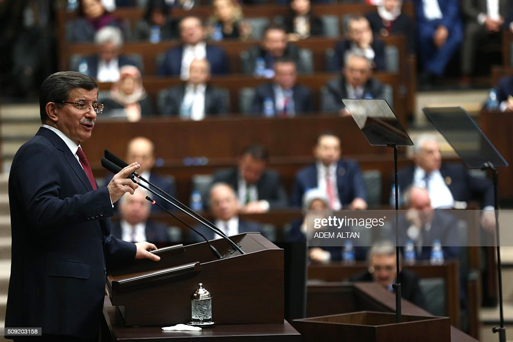 Prime Minister and the leader of the Justice and Development Party (AK Party) Ahmet Davutoglu delivers a speech during AK Party's group meeting at the Grand National Assembly of Turkey (TBMM) in Ankara, on February 9, 2016. / AFP / ADEM ALTAN
