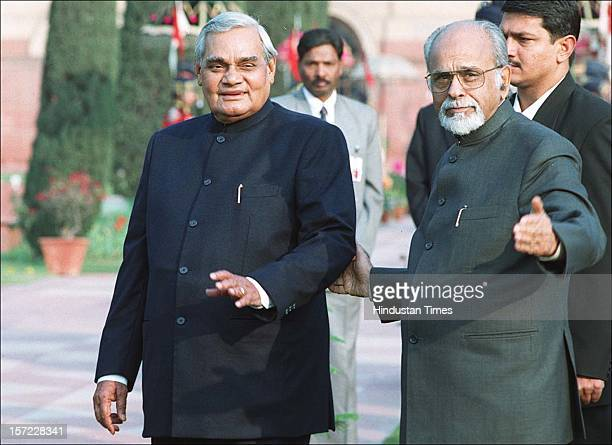 Prime Minister Atal Behari Vajpayee along with former Prime Minister Inder kumar Gujral during the Reception for the Heads of Diplomatic Missions by...