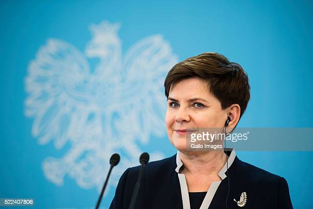 Prime Minister Beata Szydlo addresses the media during her meeting with the Prime Minister of Denmark Lars Lokke Rasmussen on April 18 2016 at The...