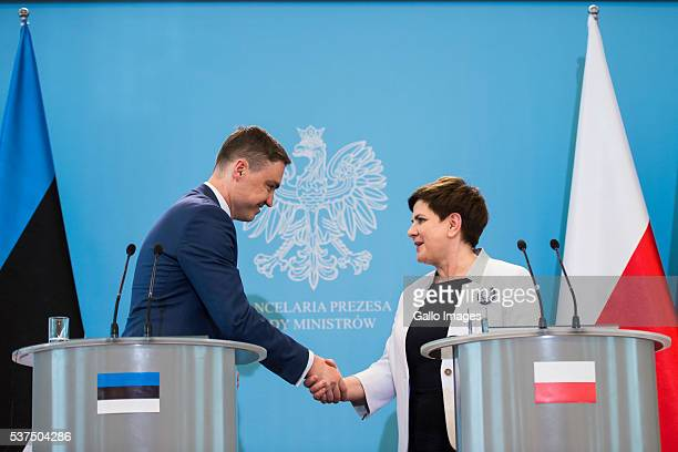 Prime minister Beata Szydlo meets prime minister of Estonia Taavi Rovias on June 1 2016 in Warsaw Poland The meeting was organized to discuss the...