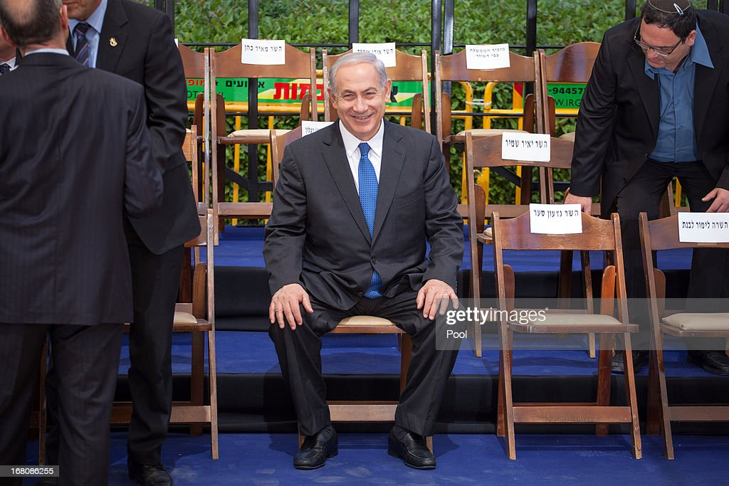 Prime Minister Benjamin Netanyahu attends a group picture with his cabinet at the Herzl Museum ahead of a cabinet meeting on May 5, 2013 in Jerusalem, Israel. Syria has accused Israel of launching rocket attacks on the Jamraya research centre in Damascus which, it is thought, is involved in the research of chemical weapons.
