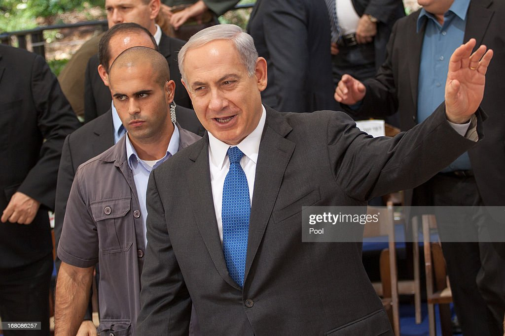 Prime Minister <a gi-track='captionPersonalityLinkClicked' href=/galleries/search?phrase=Benjamin+Netanyahu&family=editorial&specificpeople=118594 ng-click='$event.stopPropagation()'>Benjamin Netanyahu</a> attends a group picture with his cabinet at the Herzl Museum ahead of a cabinet meeting on May 5, 2013 in Jerusalem, Israel. Syria has accused Israel of launching rocket attacks on the Jamraya research centre in Damascus which, it is thought, is involved in the research of chemical weapons.