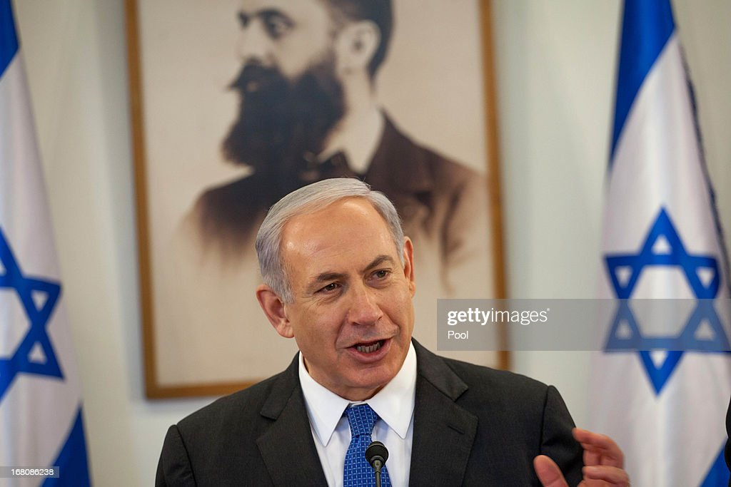 Prime Minister <a gi-track='captionPersonalityLinkClicked' href=/galleries/search?phrase=Benjamin+Netanyahu&family=editorial&specificpeople=118594 ng-click='$event.stopPropagation()'>Benjamin Netanyahu</a> chairs a cabinet meeting at the Herzl Museum on May 5, 2013 in Jerusalem, Israel. Syria has accused Israel of launching rocket attacks on the Jamraya research centre in Damascus which, it is thought, is involved in the research of chemical weapons.