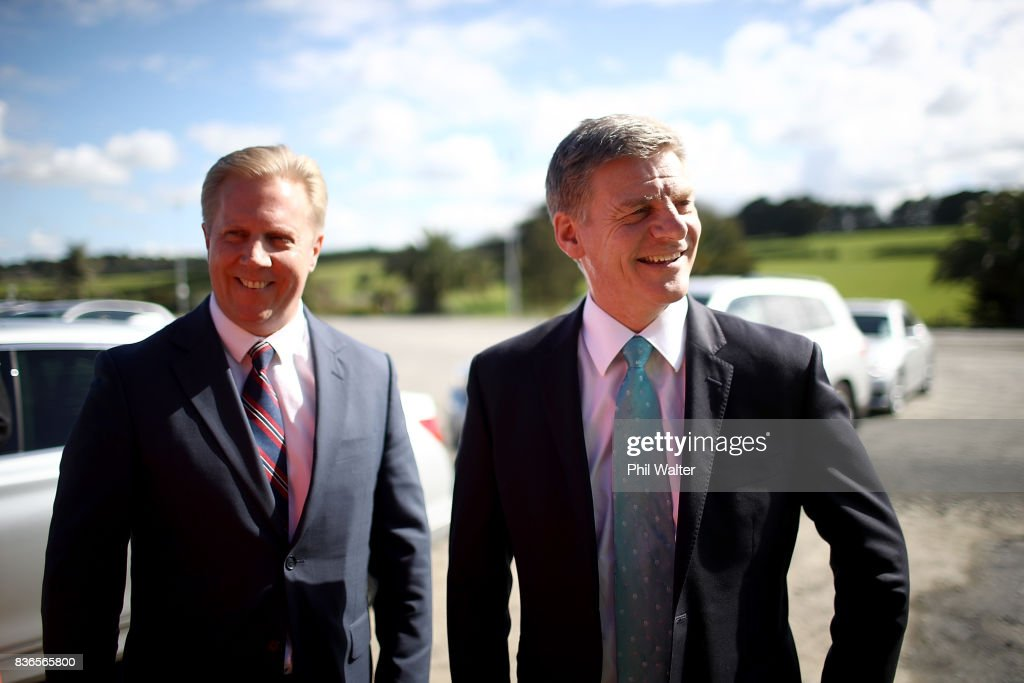 Prime Minister Bill English (R) and National spokesperson for trade Todd McClay (L) arrive at the Balle Brothers fresh produce plant in Pukekohe on August 22, 2017 in Auckland, New Zealand. National today announced plans to expand international trade access for Kiwi exporters to be able to trade with more regions by pushing to complete a Trans-Pacific Partnership deal.