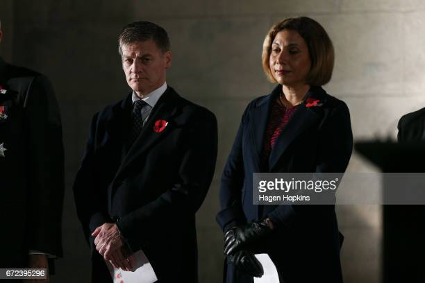Prime Minister Bill English and wife Mary look on during Anzac Day dawn service at Pukeahu National War Memorial Park on April 25 2017 in Wellington...