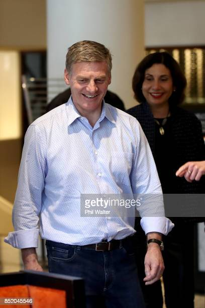 Prime Minister Bill English arrives to speak to the media alongside his wife Mary English at the Pullman Hotel on September 23 2017 in Auckland New...