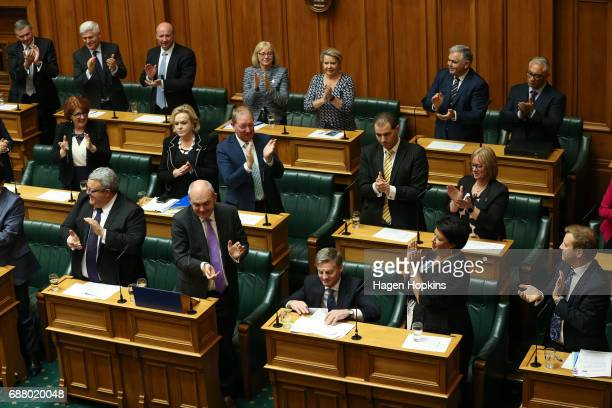 Prime Minister Bill English is applauded at the conclusion of his speech during the 2017 budget presentation at Parliament on May 25 2017 in...