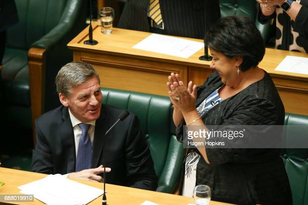 Prime Minister Bill English is applauded by deputy leader Paula Bennett at the conclusion of his speech during the 2017 budget presentation at...