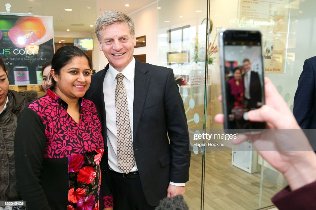 Prime Minister Bill English poses for a photo during a visit to North City Shopping Centre on August 17, 2017 in Wellington, New Zealand. Earlier the Prime Minister announced $9 million will be invested in the redevelopment of Mana College. The redevelopment will involve the demolition of some existing facilities, the remediation and modernisation of other buildings and the creation of new, flexible learning spaces. New Zealand's 2017 General Election will be held on Saturday 23 September.
