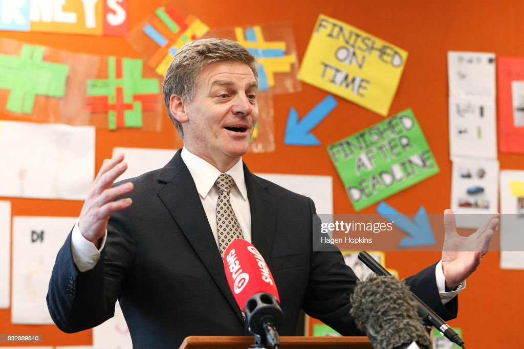 Prime Minister Bill English speaks during an announcement at Mana College on August 17, 2017 in Wellington, New Zealand. The Prime Minister announced $9 million will be invested in the redevelopment of Mana College. The redevelopment will involve the demolition of some existing facilities, the remediation and modernisation of other buildings and the creation of new, flexible learning spaces.