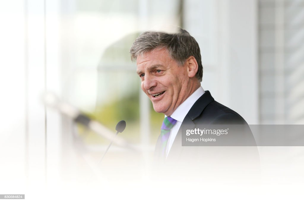 Prime Minister Bill English speaks during the opening of a new Challenge 2000 premises on August 12, 2017 in Wellington, New Zealand. Prime Minister Bill English is only just ahead as preferred prime minister, with Labour's new leader Jacinda Ardern 1.4 points behind. Labour has enjoyed a surge in support in the last week, following Jacinda Ardern taking over from Andrew Little as party leader on 1 August.