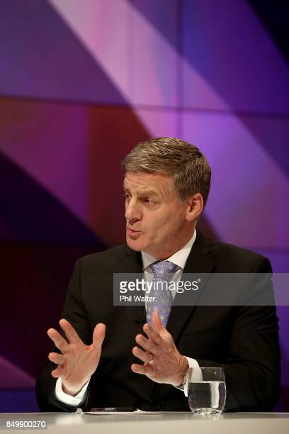 Prime Minister Bill English speaks during the TVNZ Vote 2017 2nd Leaders Debate between Prime Minister Bill English and Labour leader Jacinda Ardern...