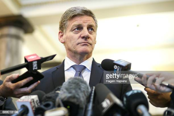 Prime Minister Bill English speaks the media after the 2017 budget presentation at Parliament on May 25 2017 in Wellington New Zealand Finance...