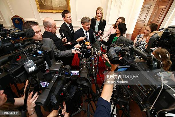 Prime Minister Bill English speaks to media during a ceremony at Government House on December 20 2016 in Wellington New Zealand Bill English...