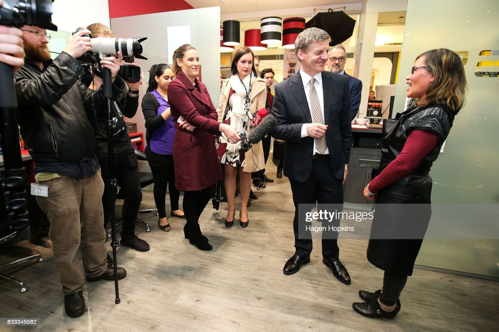 Prime Minister Bill English visits a hairdressing salon during a trip to North City Shopping Centre on August 17, 2017 in Wellington, New Zealand. Earlier the Prime Minister announced $9 million will be invested in the redevelopment of Mana College. The redevelopment will involve the demolition of some existing facilities, the remediation and modernisation of other buildings and the creation of new, flexible learning spaces. New Zealand's 2017 General Election will be held on Saturday 23 September.