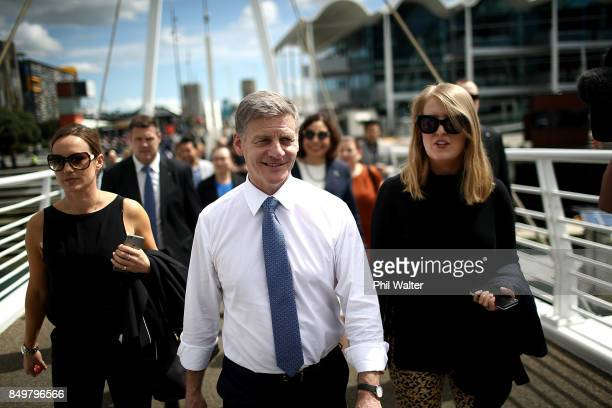 Prime Minister Bill English walks through Auckland's Viaduct Harbour on September 20 2017 in Auckland New Zealand Voters head to the polls on...