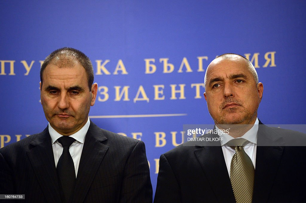 Prime Minister Boiko Borisov (R) and Bulgarian Interior Minister Tsvetan Tsvetanov (L) give a press conference after a Bulgarian national security conference in Sofia on February 5, 2013. The Bulgarian government said today that two people with Canadian and Australian passports linked to the Lebanese militia movement Hezbollah were behind a bomb attack on Bulgaria's Black Sea coast in July that killed five Israeli tourists.