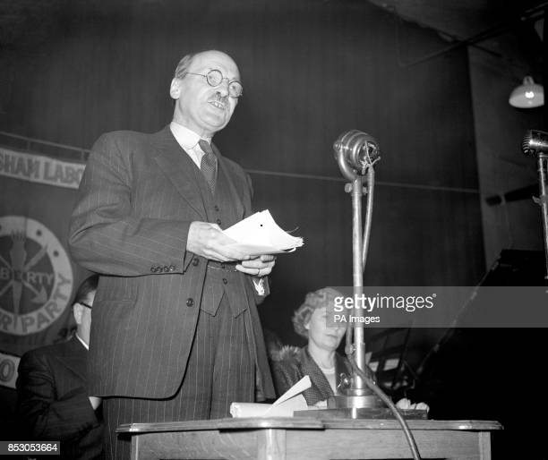 Prime Minister Clement Attlee addresses the West Lewisham Labour Party meeting in Forest Hill London He argued that Soviet Russian imperialism made...
