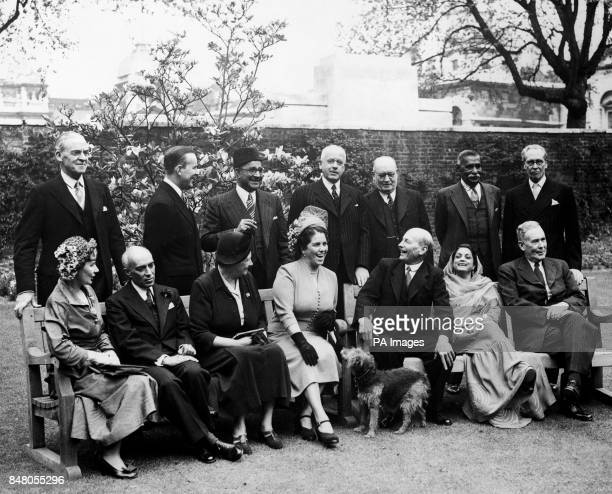 Prime Minister Clement Attlee with Commonwealth statesmen in London Front row left to right Mrs Attlee Pandit Jawaharlal Nehru Indian Prime Minister...