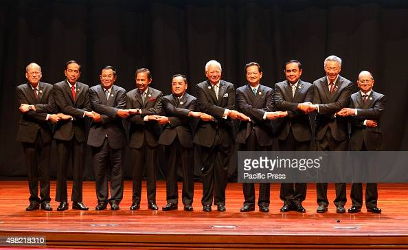Prime Minister Datuk Seri Najib Tun Razak posing with ASEAN Heads of States at the opening ceremony of the 27th ASEAN Summit and Related Summits at...