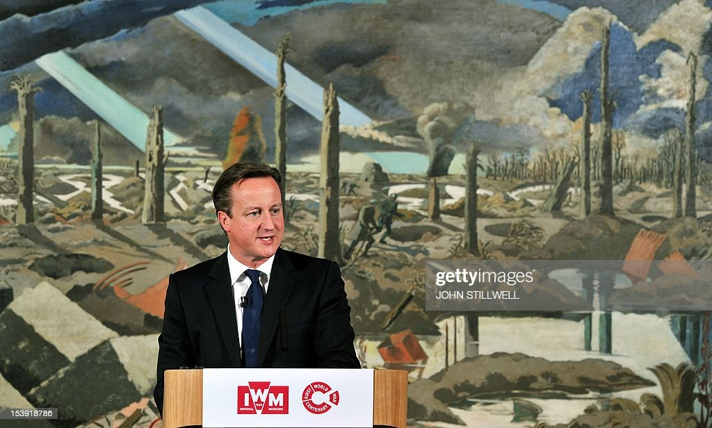 Prime Minister David Cameron address a gathering at the Imperial War Museum in London on October 11, 2012 as he launches the start of World War one commemorations leading up the 100th anniversary of the outbreak of the war in 2014. Britain will stage events across the country and take thousands of children to visit the battlefields of World War I to mark the centenary of the conflict in 2014, Prime Minister David Cameron said. AFP PHOTO/POOL/ John Stillwell