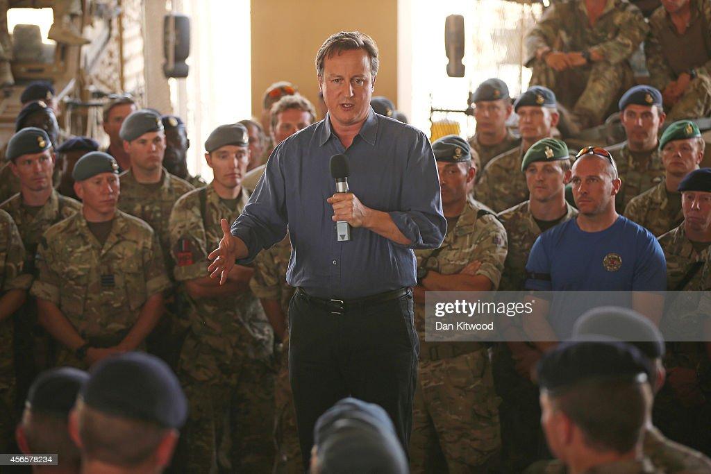 Prime Minister David Cameron addresses british troops on October 3 2014 in Camp Bastion Afghanistan DavidCameron Visits Camp Bastion theBritishrun...