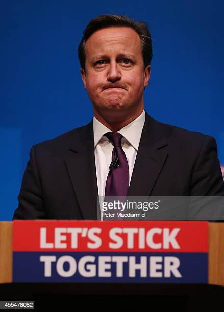 Prime Minister David Cameron addresses members of the No campaign on September 15 2014 in AberdeenScotland The latest polls in Scotland's...