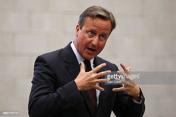 Prime Minister David Cameron addresses pupils at an assembly during a visit to Corby Technical School on September 2 2015 in Corby England Mr Cameron...