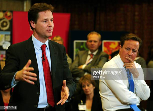 Prime Minister David Cameron and Deputy Prime Minister Nick Clegg conduct a QA session at George Spencer School on October 21 2010 in Nottingham...